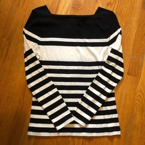 Chaps B&W Striped Boatneck Cotton Shirt
